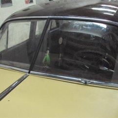 windshield gasket & trim being installed