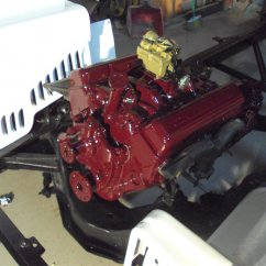 motor on frame, wells painted gloss white