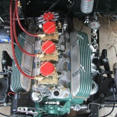 3 carb setup, fuel block, finned coil cover